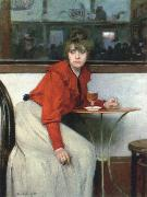 Ramon Casas chica in a bar oil